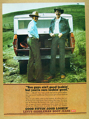 1973 Levi's Saddleman Boot Jeans men pickup photo levi strauss vintage print Ad