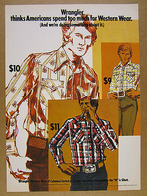 1973 Wrangler Western Wear Shirts men's fashion art vintage print Ad