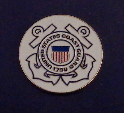 "UNITED STATES COAST GUARD 1.5""  1 1/2"" round Lapel Pin US USCG Anchor"