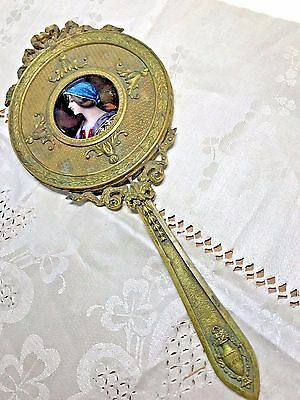 Antique French Hand Painted Enamel Foil Ormolu Bronze Hand Mirror -Signed