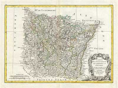 1771 Bonne Map of Alsace and Lorraine, France
