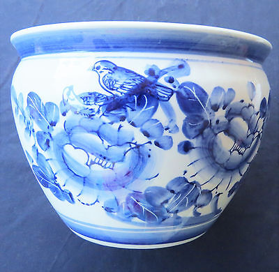 Vintage Chinese Pot  Planter in Blue and White Bird Floral Hand Painted 6x8""