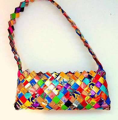Pocketbook Candy Wrapper Foil Weave Child Teen Girls Upcycled Recycle NWOT