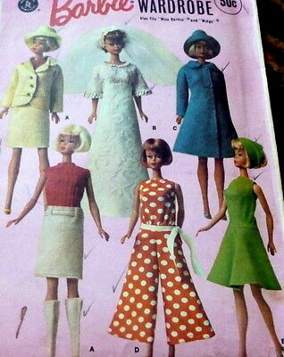 """GREAT VTG 1960s 11 1/2"""" BARBIE DOLL CLOTHING SEWING PATTERN"""