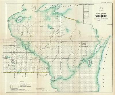 1855 Public Survey Map of Wisconsin and Minnesota