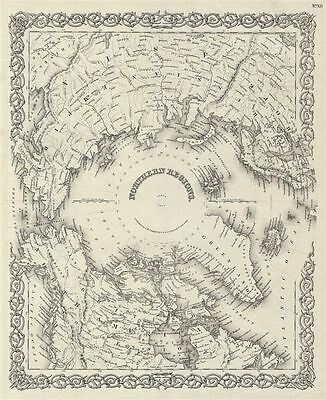 1856 Colton Map of the Arctic or North Pole