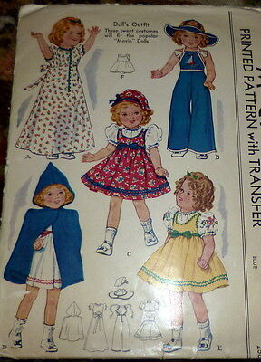 """RARE VTG 1930s MOVIE 16"""" SHIRLEY TEMPLE DOLL CLOTHING SEWING PATTERN"""