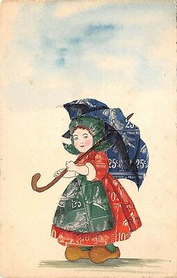 POSTCARD WITH CUT STAMP DESIGN ~ DUTCH GIRL WITH UMBRELLA ~ c. 1904-14