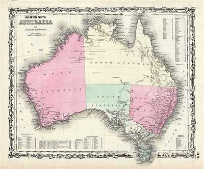 1861 Johnson and Browning Map of Australia (First Edition)