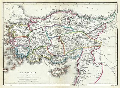 1867 Hughes Map of Turkey or Asia Minor (Anatolia) in Antiquity
