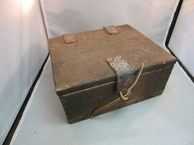 Vtg primitive hand made wood box with leather straps