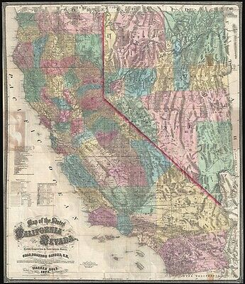 1873 Holt and Gibbes Pocket Map of California and Nevada