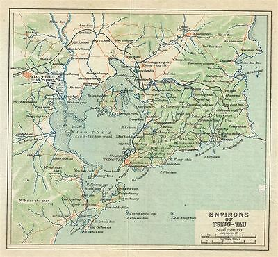 1924 Imperial Japanese Railway Map of Ching-Tao or Qingdao or Tsingtao and Envir