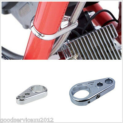 """1"""" 25mm  Handbar Chrome Metal Motorcycle Bike Brake Clutch Cable Wire Clamp Clip"""
