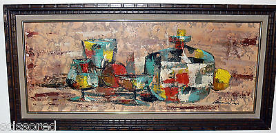 Beautiful Abstract Mid Century Modern Bar Painting on Board