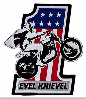 Evel Knievel Die Cut Embossed Tin Sign.MAN CAVE, GARAGE, OFFICE.Sport,Motorcycle