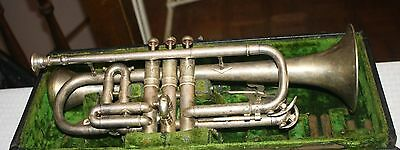 1907 C G Conn Perfected Wonder Cornet in Case with Slides, Mute & 2 Mouthpieces