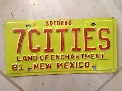 """1981 New Mexico  Vanity  License Plate """" 7 Cities """" Of Cibola  Spain Spanish"""