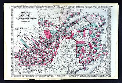1867 Johnson Map - Quebec Montreal New Brunswick Dominion of Canada St. Lawrence