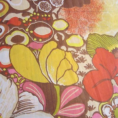 Vintage Fabric Craft Sewing Dress Psychedelic Poppies Border 1970S Georgette Mod