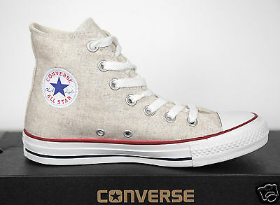 NUOVO ALL STAR CONVERSE Chucks HI CAN lana bianco cappello beige sneaker 540330c