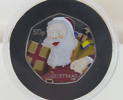 COLOURED 50p Fifty Pence Coin 2011 SANTA CLAUS Isle of Man BUNC  With COA