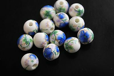 Bulk Pretty 20ps Blue Flower Round Porcelain Beads Spacer Finding 10mm Charms