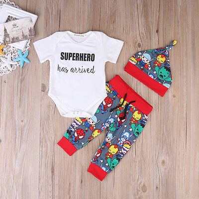 3PCS Newborn Kids Baby Boy Clothes Cartoon Romper Pants Hat Outfits Set US Stock