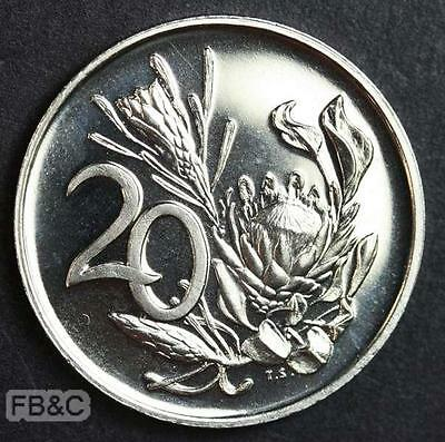 1973 South Africa 20 Cents Proof Coin - Protea