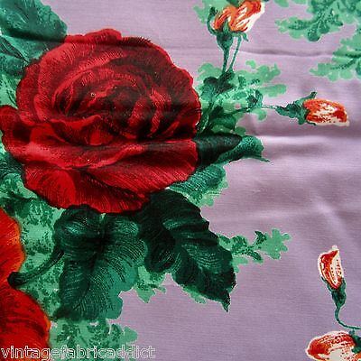 Vintage Fabric Quilt Craft Sew Dress Purple Rayon Red Roses 1960S Exotic Novelty