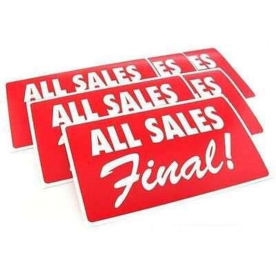 """All Sales Final"" Message Signs 11"" 6Pcs"