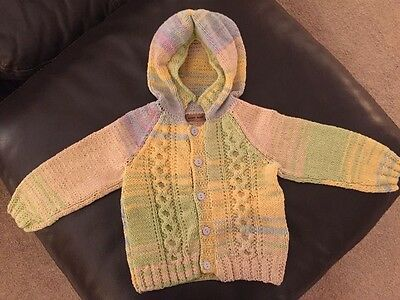 Newlt Hand Knitted Baby Boy Hooded Cardigan Age 18 Months