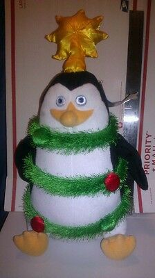 "Merry Madagascar Skipper 18"" Plush Penguin Dreamworks Christmas Garland Ornament"