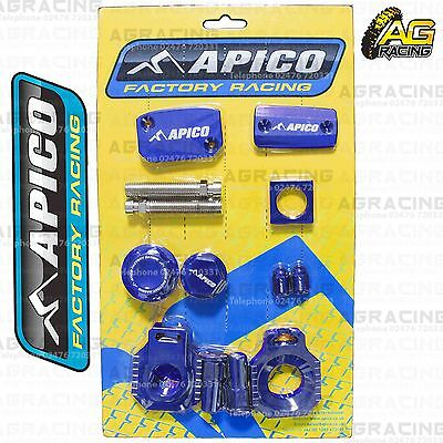 Apico Bling Pack Blue Blocks Caps Plug Clamp Cover For Husaberg TE 125 2012-2014