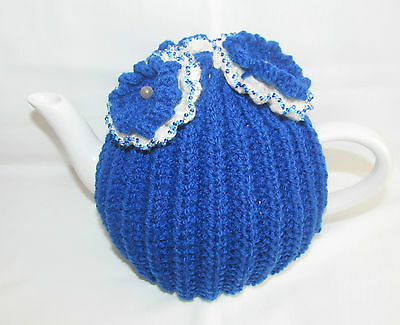 Hand Knitted Royal Blue/White Tea Cosie - 4 Cup