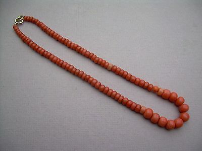 Antique Victorian Natural Undyed Coral Graduated Bead Necklace 29.1 grams.