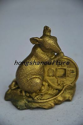 Exquisite Chinese Brass Handmade Statues—Mouse Money