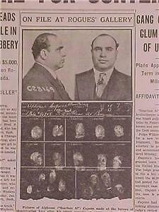 Vintage Newspaper Headline ~Crime Gangster Scarface Al Capone In Jail Contempt~