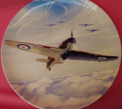 Coalport Up And At 'em Hurricane Battle Of Britain Wwii Plane Plate Box & Cert