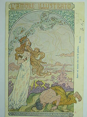 """Advertising-News Papers-Italy-""""l'amore Illustrato""""-Artist Signed-V5E-S41288"""