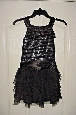EUC Biscotti Black & Silver Sequins Ruffles Special Occasion Party Dress Size 8