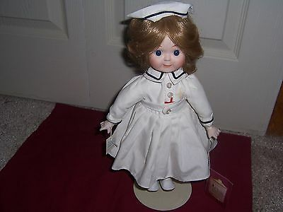 """Vintage Musical """"nurse"""" Doll By Schmid Windup Collectable 1984 Porcelain Doll"""