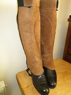 vintage Rhinegold Suede  Leather Gaiters Half Chaps VGC