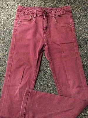 Boys Maroon Jeans Age 11 Years