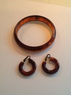 Vintage Rootbeer Marblized Bakelite Hoop Earrings Matching Bangle