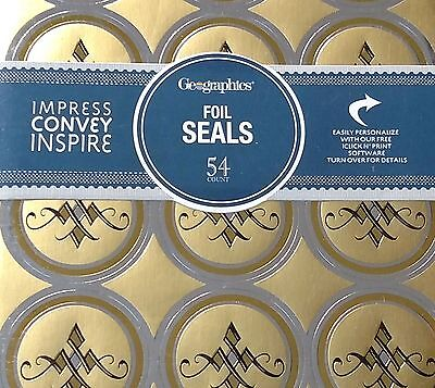 Pack 54 GEOGRAPHICS Silver Gold Foil Embossed Seals Invitation Envelope Stickers