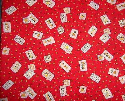 craft fabric  remnant material quilting  1 metre red/flowers
