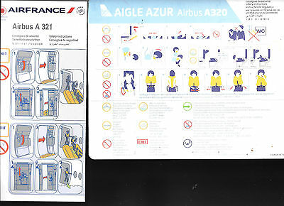 10 x BARGAIN  FRENCH AIRLINE SAFETY CARDS