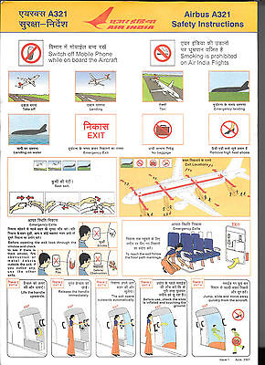 1 x AIR INDIA A321 SAFETY CARD *June 2007*