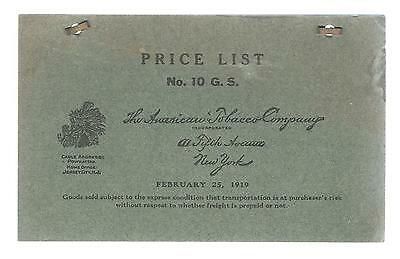 1919 American Tobacco Co. 25 Page Wholesale Price List Booklet